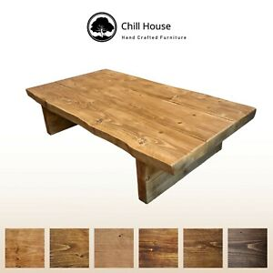 Details About Live Edge Coffee Table Rustic Tudor Oak Solid Wood Chunky Low
