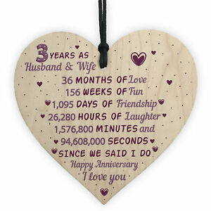 Wedding Anniversary Gift Wooden Heart