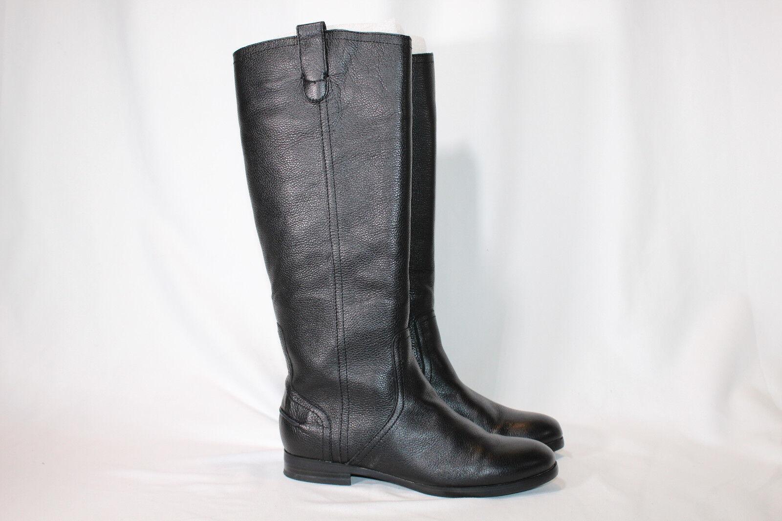 H by Halston Pebble Leather Riding Boots  Amy 6.5 medium black