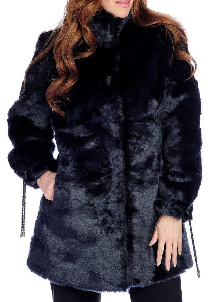 NEW - Pamela Pamela Pamela McCoy Faux Fur Drawstring Sleeved Stand Collar Hook Front Coat 37598a