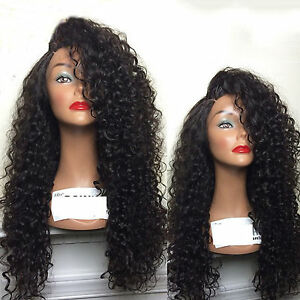 Lace-Front-African-Afro-Women-Heat-Resistant-Hair-Long-Wavy-Curly-Wig-Black-24-039-039