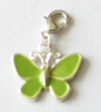 GREEN AND SILVER BUTTERFLY- CLIP ON CHARM FOR BRACELETS - SILVER PLATE - NEW