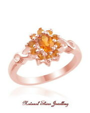Ring 0.9 CT. Natural Citrine 925 Sterling Silver - 18K Rose Gold Flashed Size 6