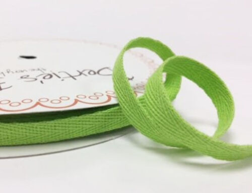 2 metres Lime Green 10mm Cotton Herringbone Tape Webbing Ribbon Sewing Clothes
