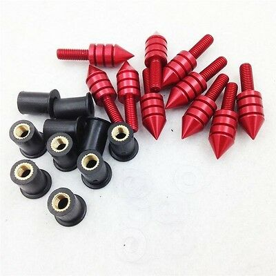 10X Red Motorcycle Windscreen Windshield Bolt Kit Rubber Well Nuts/Bolts/Washers