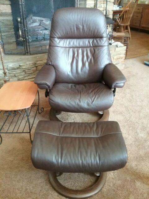 Surprising Ekornes Stressless Leather Reclining Chair Medium Sized Sunrise Model Machost Co Dining Chair Design Ideas Machostcouk