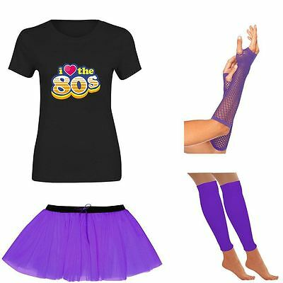 Gut Womens I Love 80s T Shirt Tutu Skirt Gloves Neon Legwarmer Set Ladies 6214 Moderater Preis