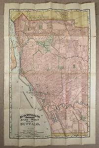 Buffalo-NY-c-1892-Original-Vintage-RAND-McNALLY-MAP-OF-BUFFALO-21-x-14-inches