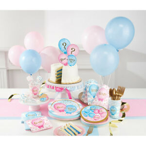 BOY-Girl-SESSO-rivelare-Baby-Shower-Party-Supplies-stoviglie-Decorazione-Rosa-Blu