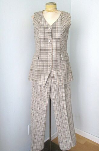 NOS w/Tag Vtg 70s Mod Brown Cream Check Tweedy 2-… - image 1