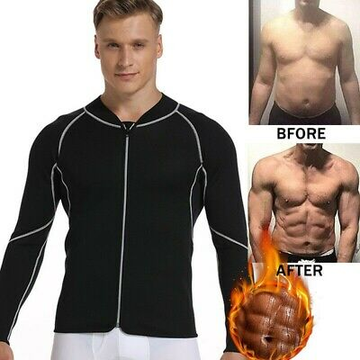 Mens Neoprene Sweat Hot Sauna Suit Muscle Training Body Shaper Gym Workout Shirt