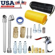 20PACK Air Compressor Accessory Kit Tool 25FT Recoil Hose Gun Tire Nozzles Set