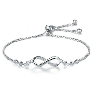 Infinity-Love-Charm-Sterling-Silver-925-Adjustable-Gold-Bracelet-Women-Jewelry