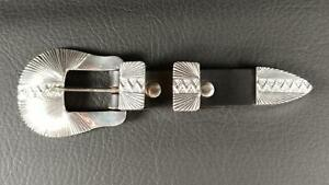 J-DELGARITO-Ranger-Belt-Buckle-Set-STERLING-SILVER-Navajo-Native-American