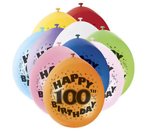 100th-Birthday-9-034-Latex-Balloons-10-Pack-Mixed-Colours-Party-Air-Fill