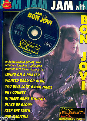 Jam with BON JOVI Jon Richie Sambora song book Guitar Tab Book CD Backing Tracks