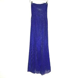 Mia Bella Womens Dress Size 8 Gown Formal Maxi Blue Silk Embellished Bead VTG
