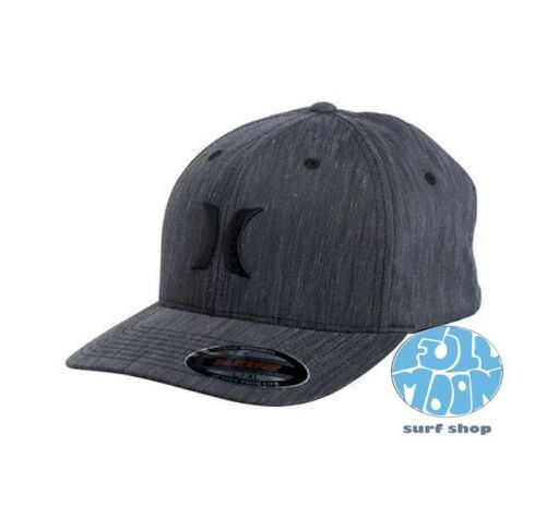 New Hurley Black Suits Mens Heather Black Flexfit Hat Cap