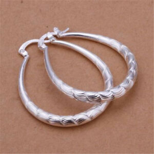 Fashion-Womens-925-Silver-Ear-Hoop-Wedding-party-U-Earring-lady-jewelry-Gift