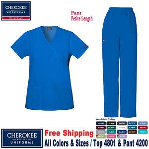 Cherokee Scrubs Set INFINITY Mock Wrap Top /& Drawstring Pant 2625A//1123A Petite