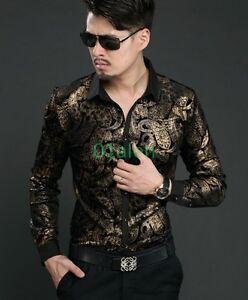 461f4957 Chic Men Floral Shirts Dress Mulberry Silk velvet Tops Casual Long ...