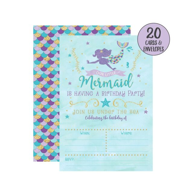 Mermaid Birthday Invitations 20 Fill In Party With Envel