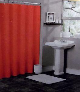 SOLID BRIGHT RED BATHROOM VINYL PLASTIC SHOWER CURTAIN