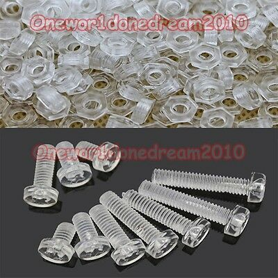 20x, 50x or 100x M3 M4 M5 M6 PC Transparent Nylon Plastic Screws Bolts Nuts Lot