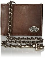 Dickies Men's Leather Slimfold Wallet With Chain Brown One Size