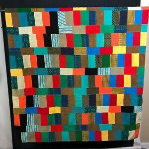 Vintage Farmhouse Patchwork Quilt handmade Corduroy Tweed Wool Plaid Retro WOW