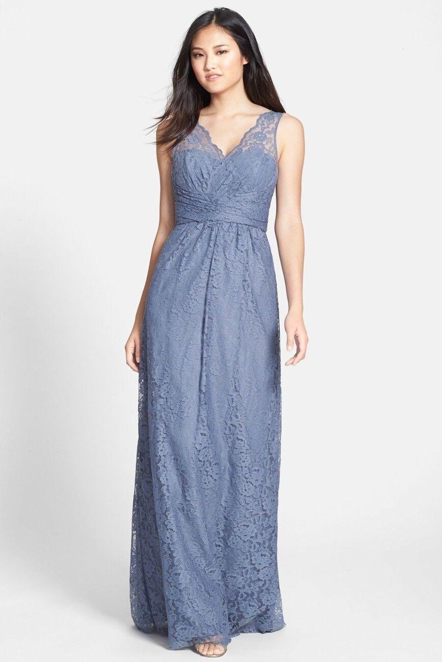 AMSALE Woherren Empire Waist Lace Gown Größe 16 In Slate
