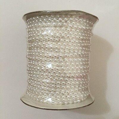 50 meter half Pearl 4mm Beaded Bridal Lace Trim Applique Lace Sewing DIY Trim