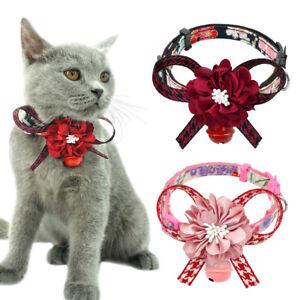 Suede Leather Rhinestone Diamante Dog Collar  Bow Tie Cat Puppy Small Pet Ar FA