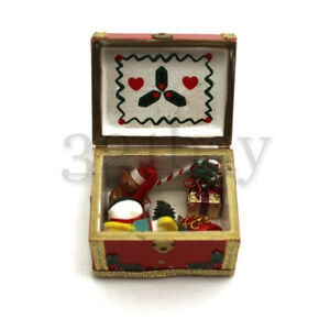 Image Is Loading Dollhouse Wood Trunk Filled With Wooden Toys