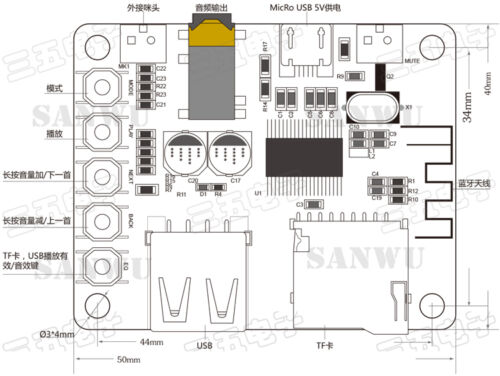 Bluetooth Audio Receiver Board With USB TF Card Decoding Playback Preamp Output