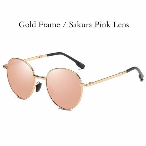 Foldable Men Women Sunglasses Metal Frame Round Color Lens Polarized Spectacles