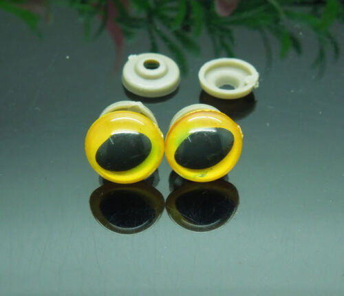 50pcs 14mm Yellow Color Plastic Safety Eyes For Cat Doll Animal Puppet Making