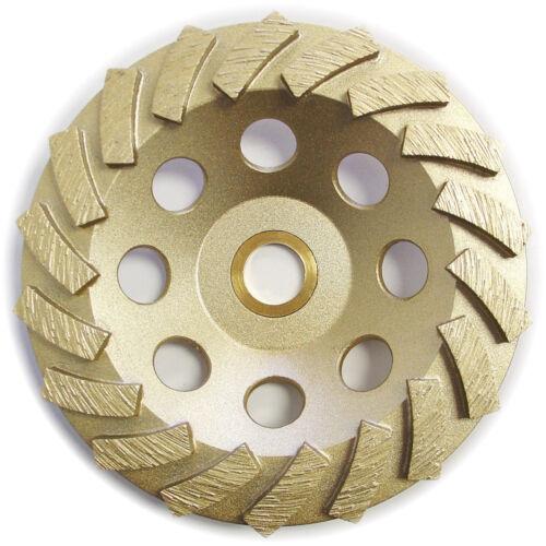 "5"" Spiral Turbo Concrete Diamond Grinding Cup Whee 18 Segs 7//8/""-5//8"" Arbor"