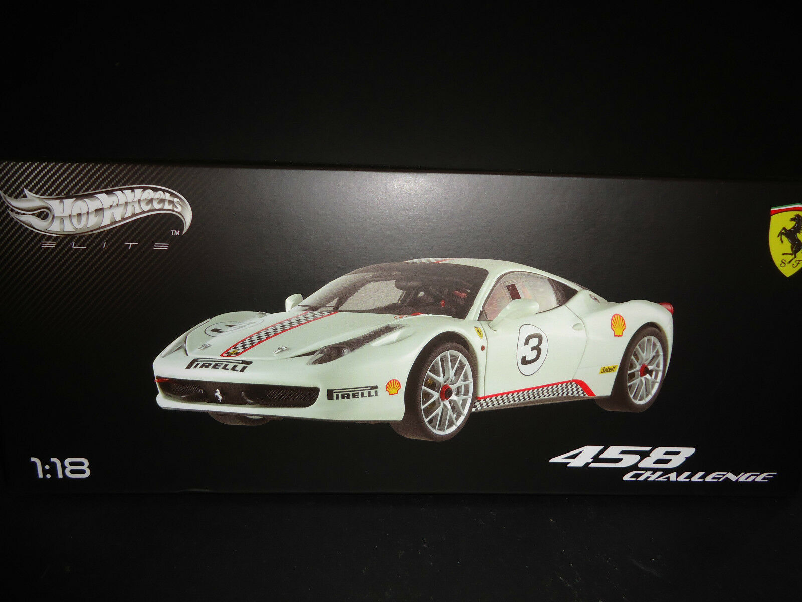 Hot Wheels Elite Ferrari 458 Italia Challenge blancooo 1 18 X5487