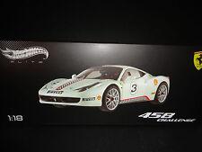 Hot Wheels Elite Ferrari 458 Italia Challenge #3 White 1/18 Limited Edition