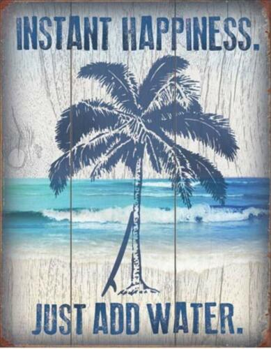 Instant Happiness Just Add Water Palm Tree Beach Surf Board Tin Metal Sign