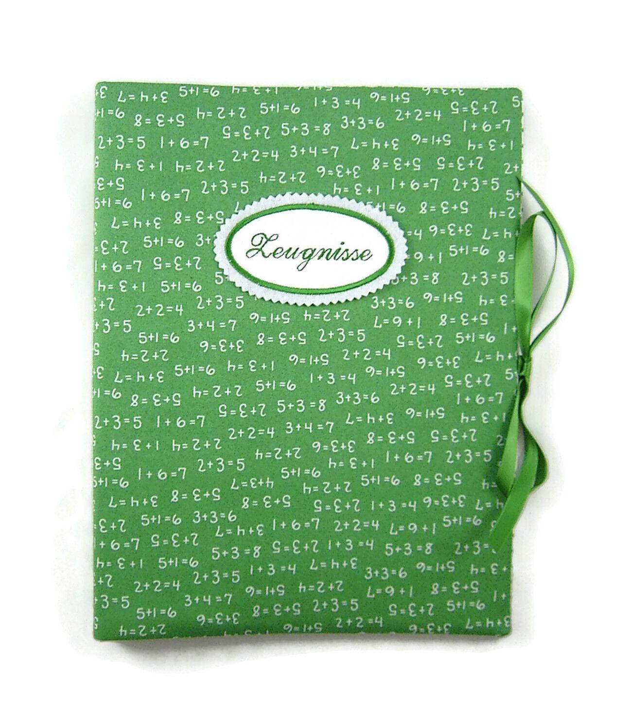 Zeugnismappe DIN A4 Mathe grün - innen Streifen - bettina bruder® | Moderne und elegante Mode  | Guter weltweiter Ruf  | Tadellos