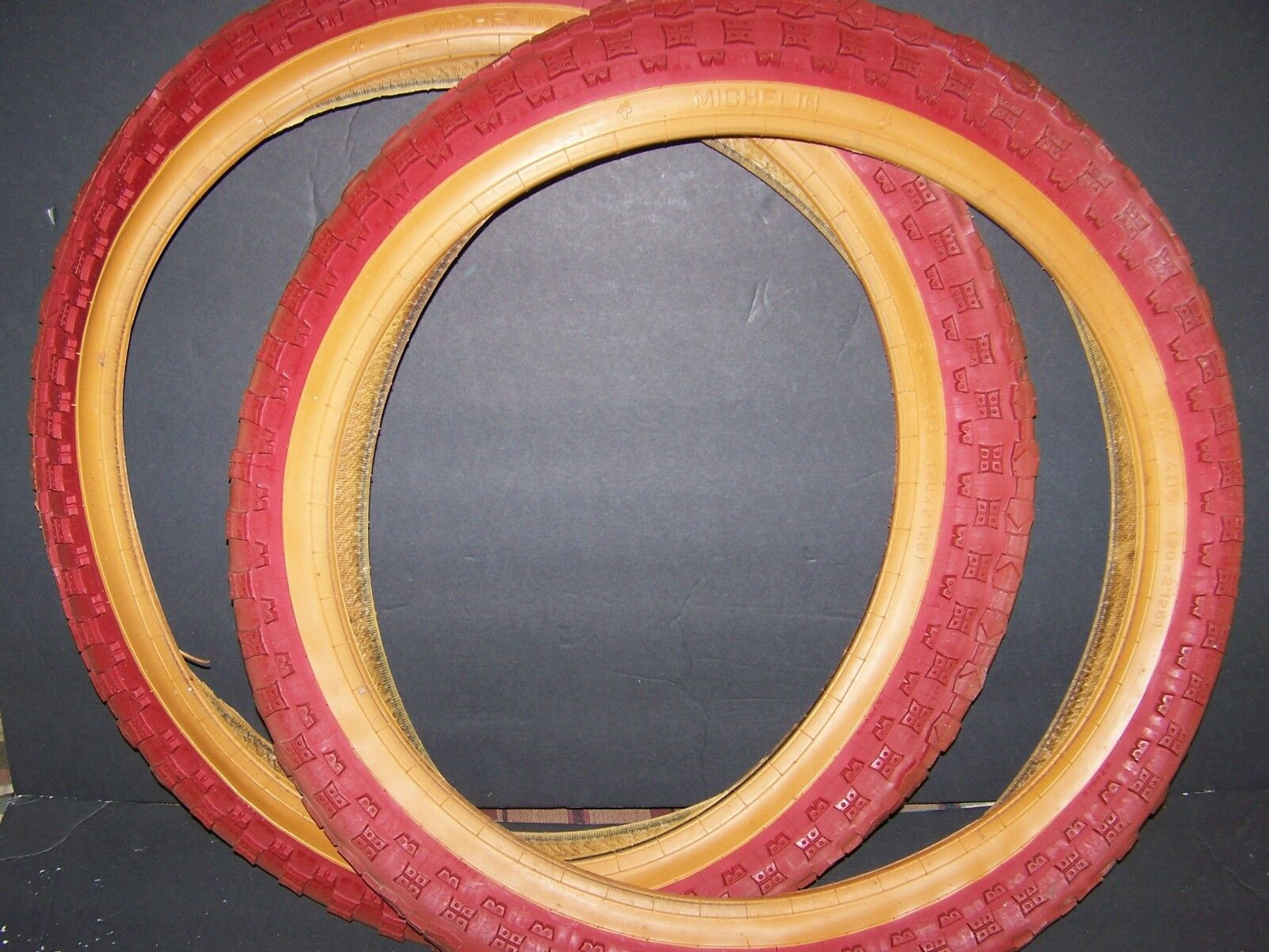 RARE VINTAGE MICHELIN COBRA TIRES  20 X 2.125 NEW  IN RED GUM WALL FROM 80'S  factory direct