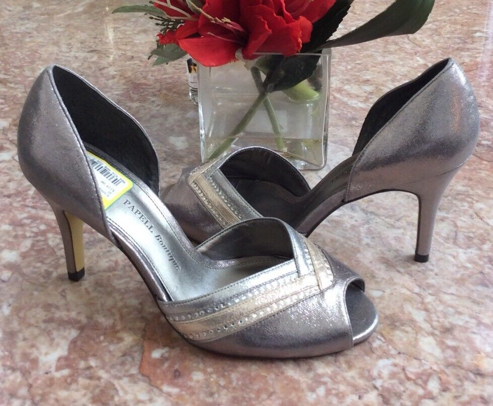 New Adrianna Papell Boutique Metallic Silber Pep-Toe d'Orsay Pumps Sz 6.5M  119