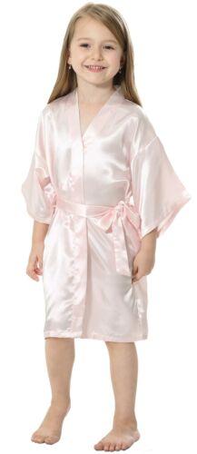Silk Satin Flower Girls Dress Kimono Kids Robe Nightwear Children Wedding Gown