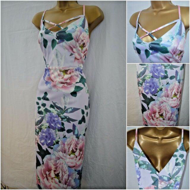 NEW DEBENHAMS DEBUT DRESS PENCIL WIGGLE FLORAL LILAC PINK PARTY OCCASION 8 - 22