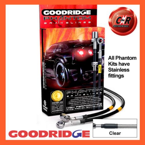 Austin Healey 3000 59-67 Goodridge Stainless Clear Brake Hoses SAH0102-3C-CL