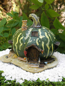 Miniature Dollhouse FAIRY GARDEN ~ Small Green Pumpkin Gourd House Cottage ~ NEW