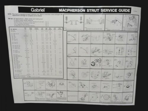GABRIEL Macpherson Strut Shock SERVICE POSTER 26x20 Illustrated NOS 1971-1980