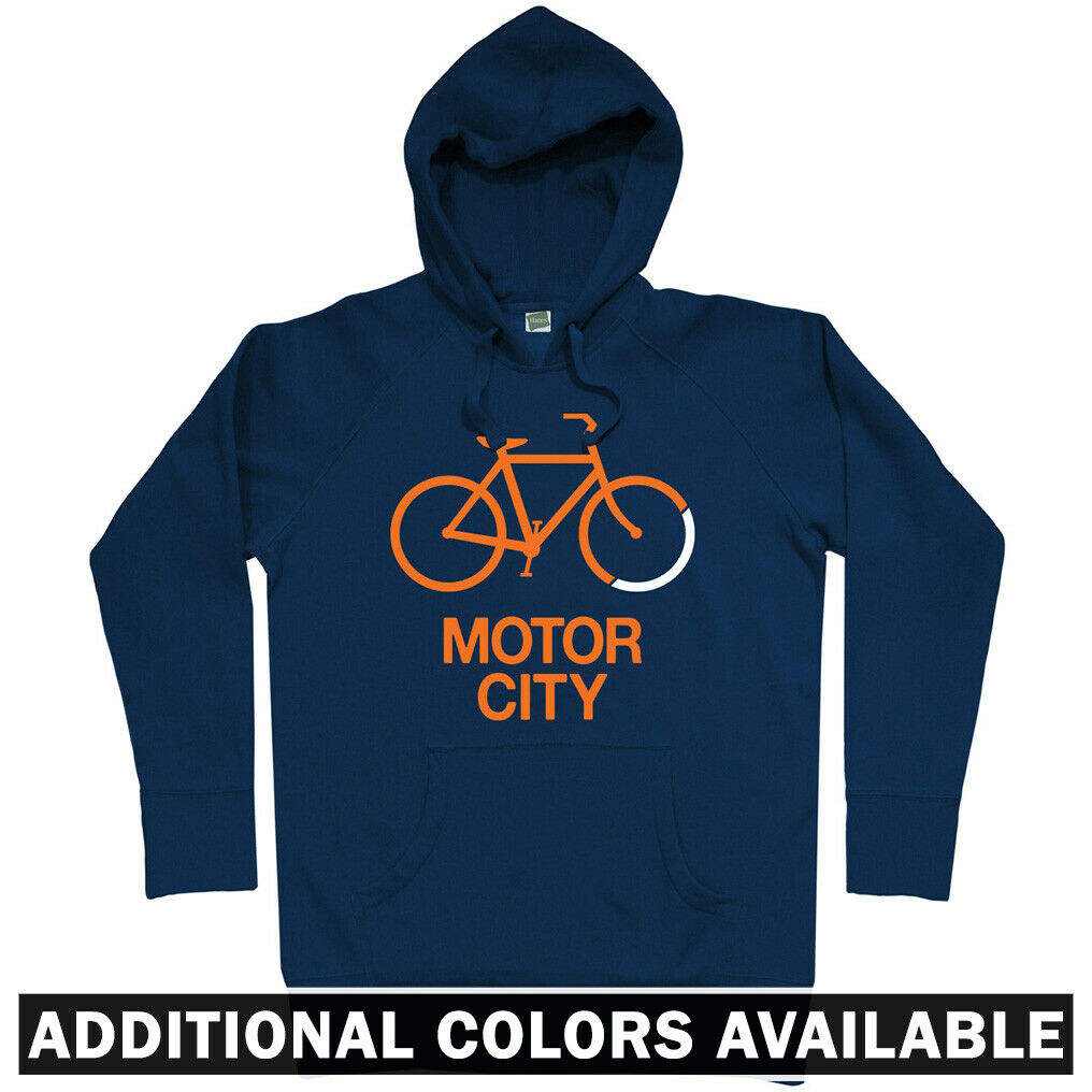Bike Motor City Detroit Hoodie - Cycling Fitness Bicycle D-Town 313 - Men S-3XL